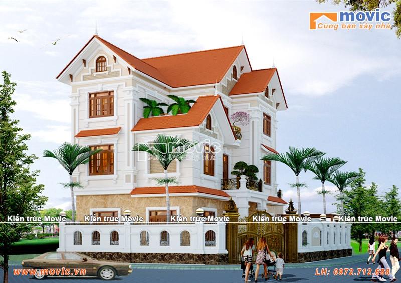 Mẫu nhà đẹp 3 tầng tân cổ điển mái thái sang trọng