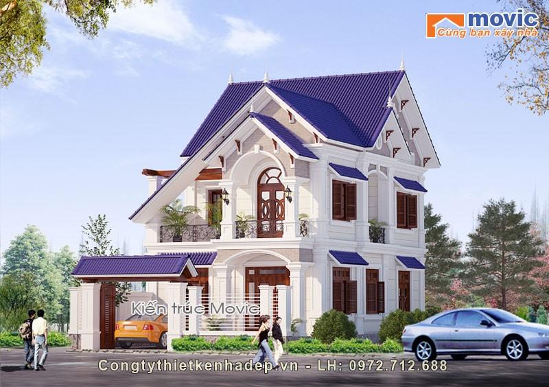 Mẫu nhà mái thái 2 tầng đẹp, hiện đại, mặt tiền 7,5m