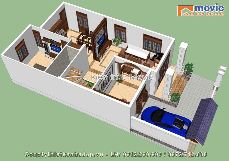 Mặt bằng mẫu nhà mái thái 2 tầng đẹp, hiện đại, mặt tiền 7,5m