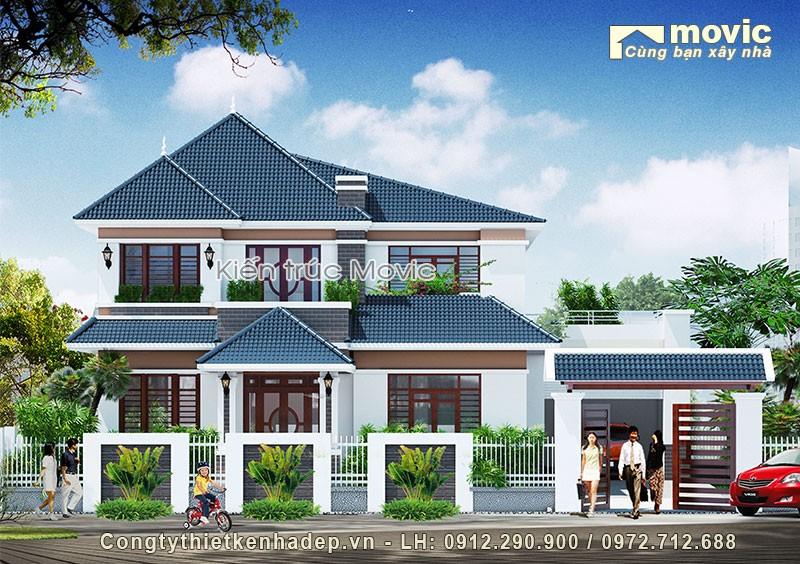 Mẫu nhà ở 2 tầng hiện đại mái thái đơn giản