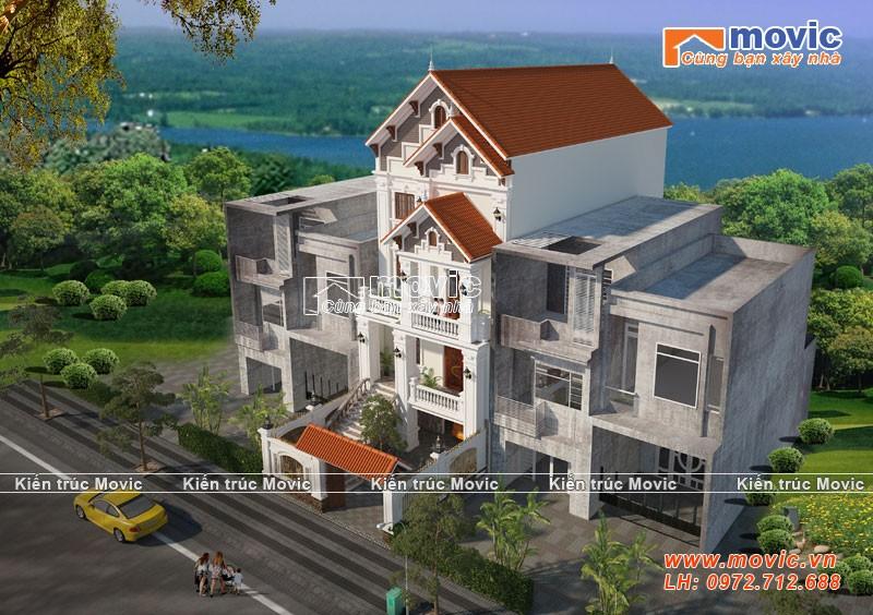 Mẫu nhà phố 4 tầng hiện đại mái thái đẹp
