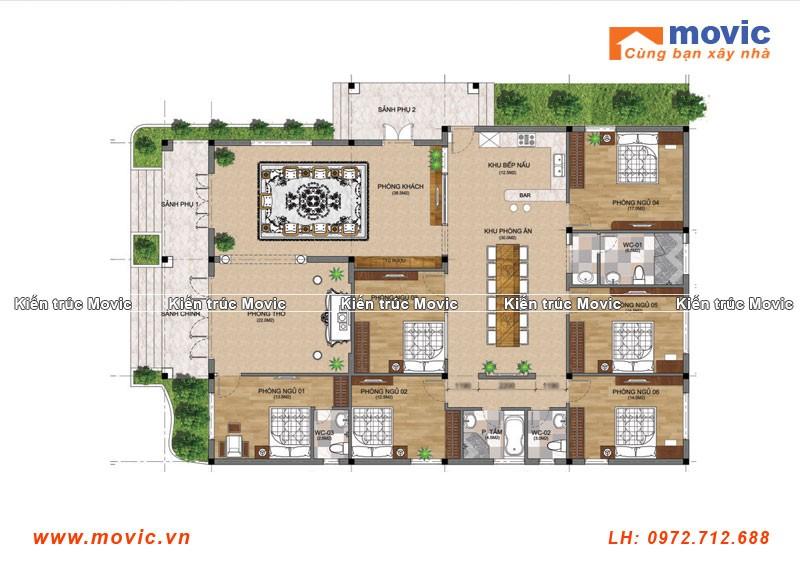 Mẫu nhà vườn 1 tầng 6 phòng ngủ, mái thái hiện đại