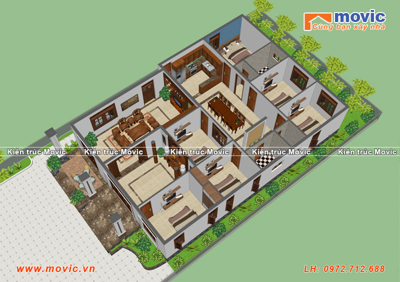 Phối cảnh mặt bằng nhà vườn 1 tầng 6 phòng ngủ, mái thái hiện đại