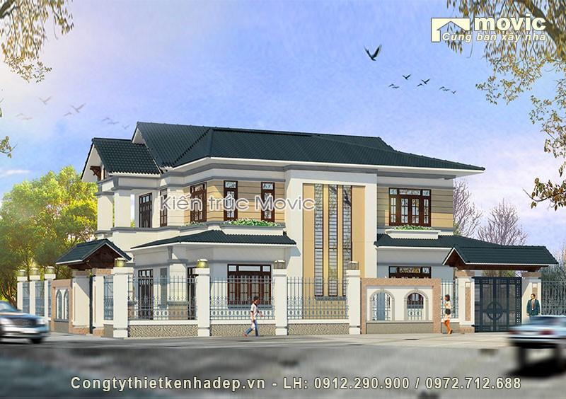 Nhà 2 tầng hiện đại mái thái đơn giản đẹp
