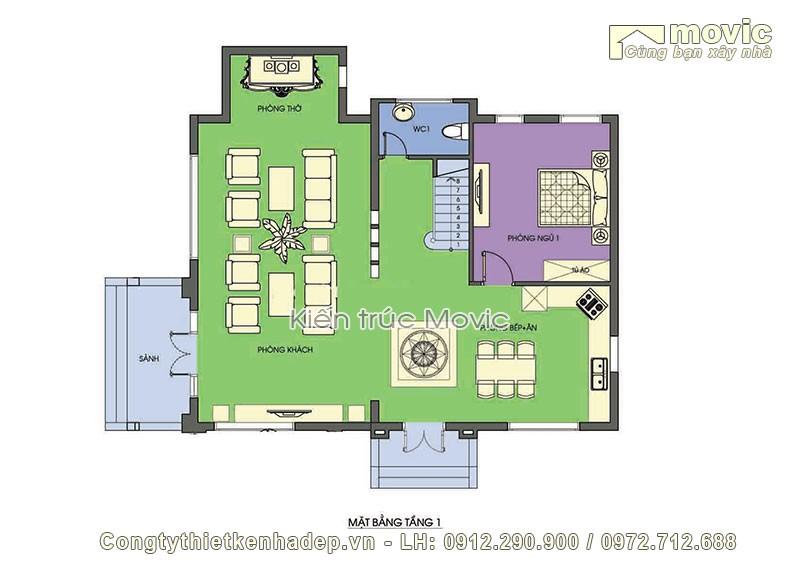 mặt bằng nhà 2 tầng tân cổ điển mái thái 3 phòng ngủ đẹp