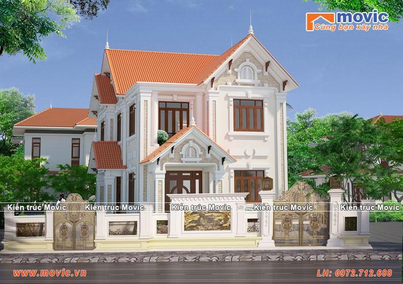 Nhà 2 tầng tân cổ điển mái thái với 5 phòng ngủ