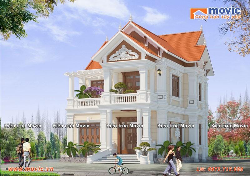 Nhà 2 tầng tân cổ điển mái thái đẹp lộng lẫy