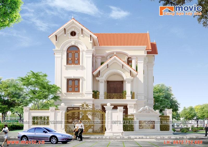 Nhà 3 tầng cổ điển đẹp kiểu Pháp bề thế, mái thái
