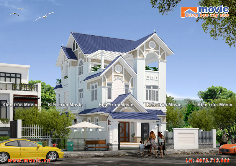 Nhà 3 tầng hiện đại đẹp, mái thái