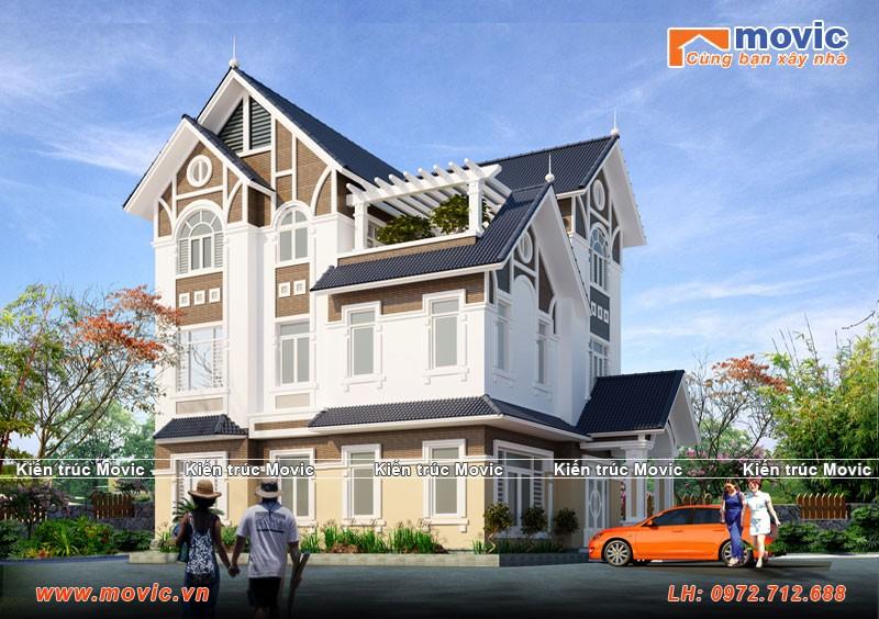 Nhà 3 tầng hiện đại mái thái đẹp thơ mộng
