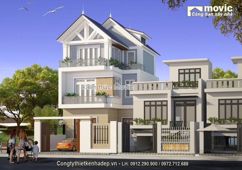 Nhà 3 tầng mái thái hiện đại đẹp