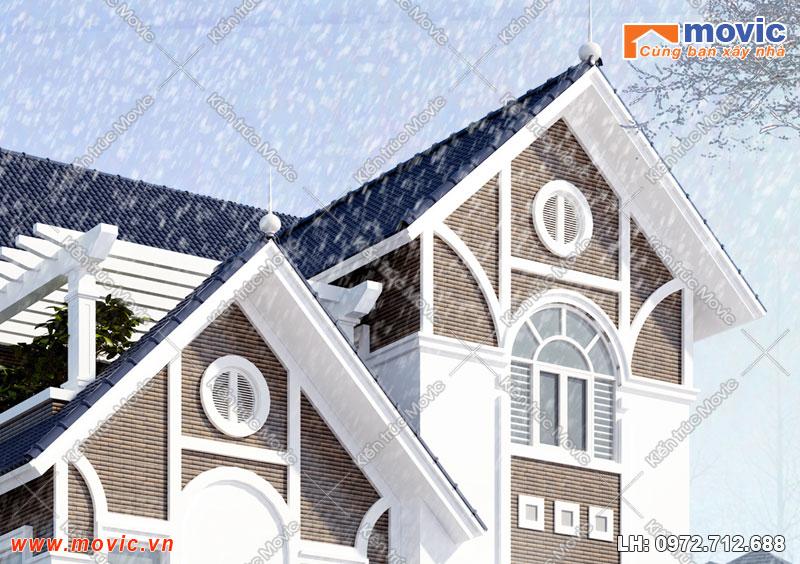 Nhà 3 tầng mái thái xây ở nông thôn đẹp, hiện đại 100m2