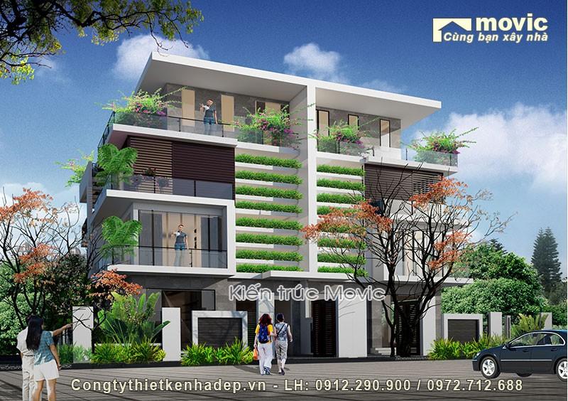 Nhà 4 tầng đẹp hiện đại, trồng nhiều cây xanh trong nhà