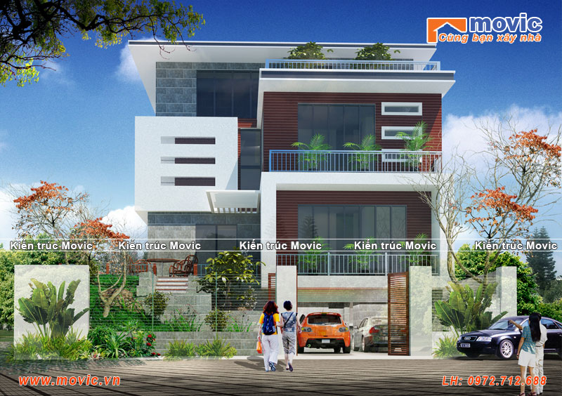 Nhà chữ L4 tầng hiện đại xây ở nông thôn đẹp
