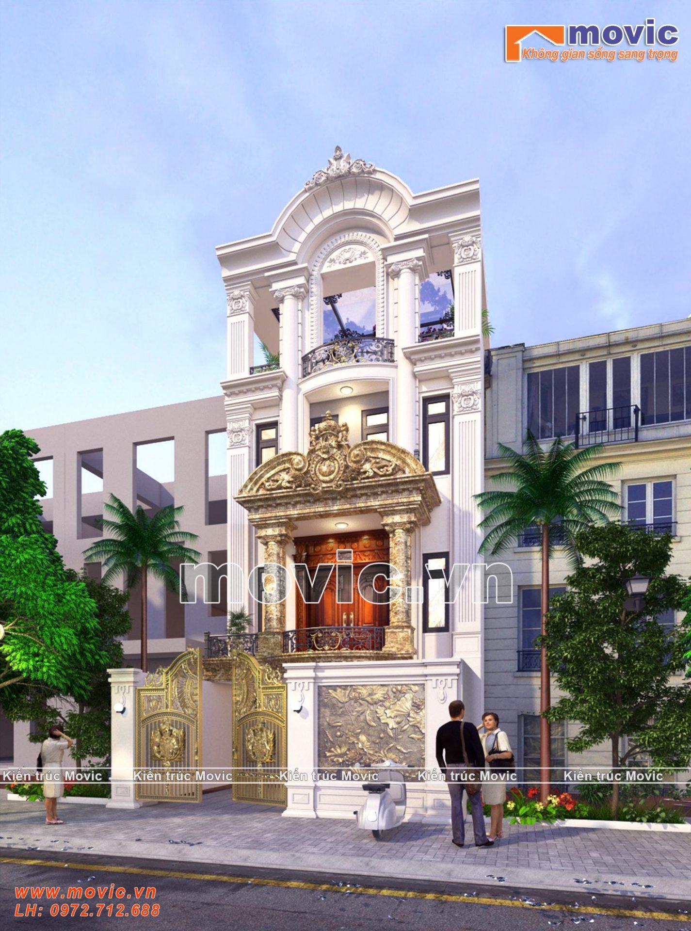 Mẫu biệt thự phố 3 tầng 1 tum tân cổ điển